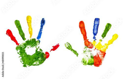 Fotografie, Obraz  colorful handprint on an isolated white background