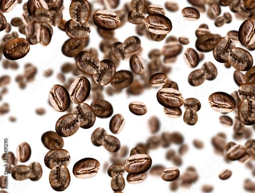 Tuinposter koffiebar tanti chicchi di caffe' su fondo isolato