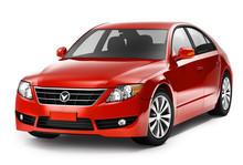 Red Smart Car In Three-Dimenti...