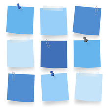 Vector Of Blue Blank Notes On White Background