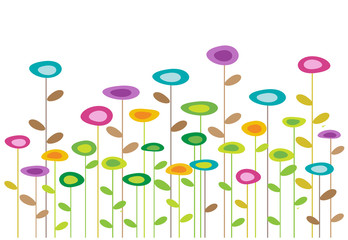 Naklejka color vector flowers background