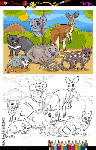 marsupials animals cartoon coloring book