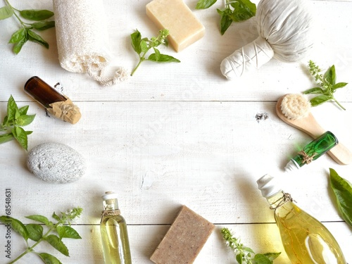 Fotografie, Obraz  Aromatherapy supplies with basil leaves