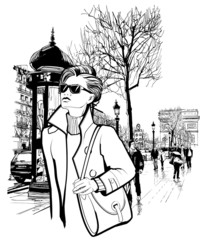 FototapetaWoman walking in Champs-Elysees avenue in Paris