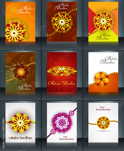 Valokuva  Beautiful raksha bandhan brochure template collection set reflec
