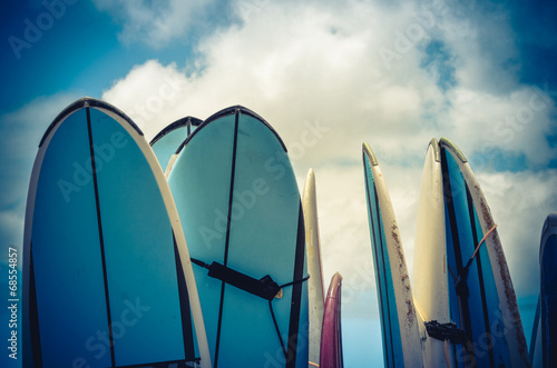 Fotografie, Obraz  Retro Styled Vintage Surf Boards In Hawaii