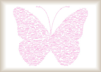 Naklejkavintage butterfly made of pink words