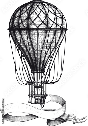 Photo Vintage hot air balloon with banner