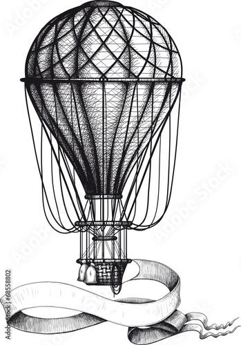 Carta da parati Vintage hot air balloon with banner