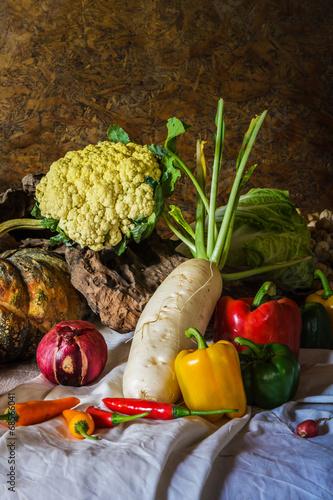 Keuken foto achterwand Waterverf Illustraties still life Vegetables, Herbs and Fruit.