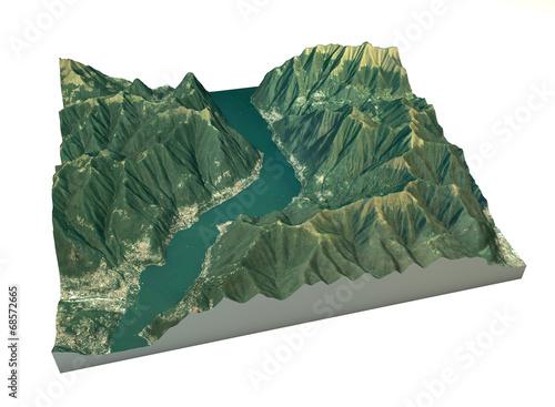 Photo  Vista aerea del lago di Como, Laglio mappa in 3d