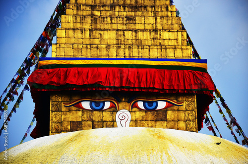 Wall Murals Nepal Boudhanath or Bodnath Stupa with Buddha eyes or Wisdom eyes