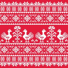 Ukrainian Slavic Folk Art Knitted Red Emboidery Pattern