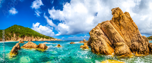 Photo  Ocean coastline scenic panoramic view in Costa Paradiso, Sardini