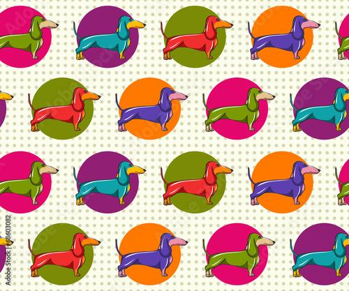 Seamless Pattern with Dachshund