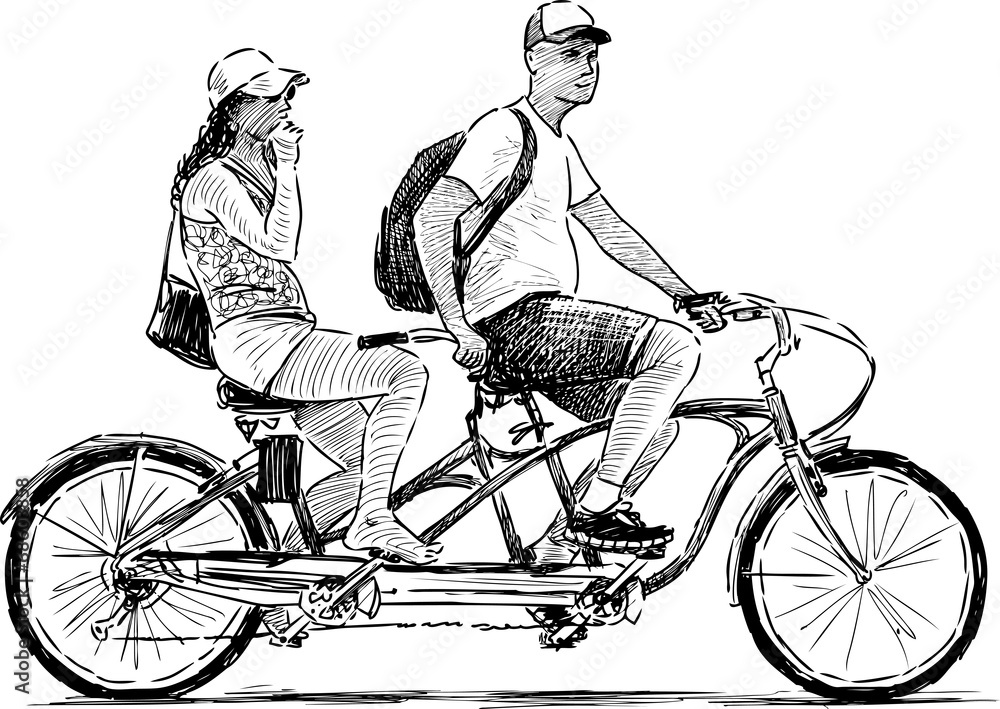 Велосипед тандем картинки рисованные
