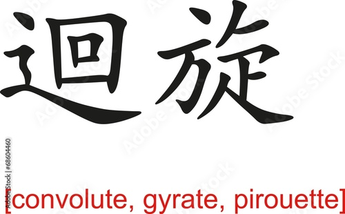 Fotografie, Obraz  Chinese Sign for convolute, gyrate, pirouette