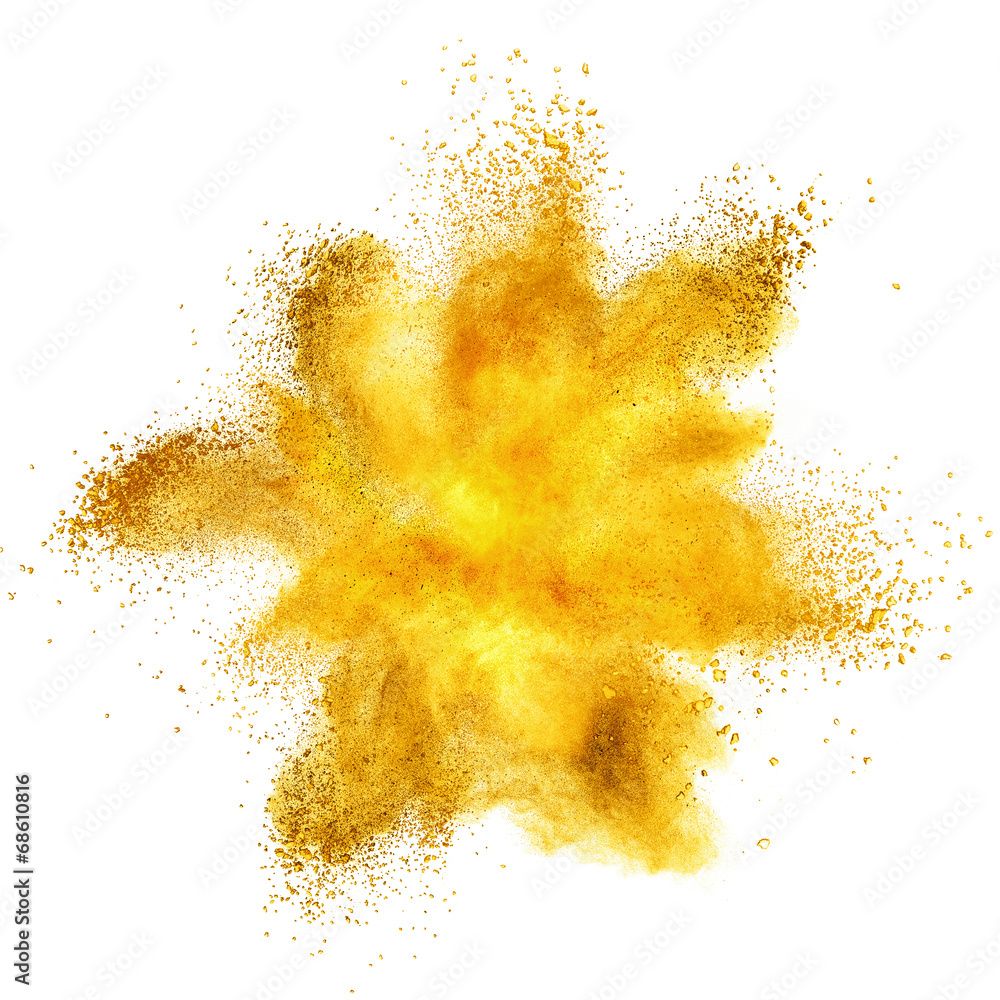 Fototapety, obrazy: Yellow powder explosion isolated on white