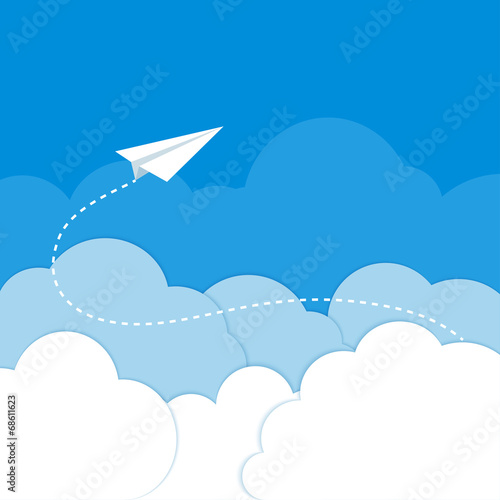 Tuinposter Hemel Paper airplane in the clouds on a blue background