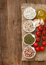 Legumes In Bowls, Tomatoes, Ga...