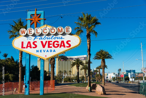 Famous Las Vegas sign on bright sunny day Poster