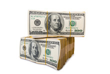 American Dollar Stack Isolated...