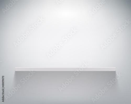 Photo empty shelf on white wall