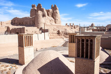 Water Cistern And The Castle Of Narenj In Desert Town Naein