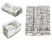 Press. Newspaper Stand. Newsstand. Vector Illustration.