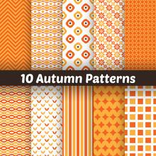 Autumn Vector Seamless Patterns. Endless Texture For Wallpape