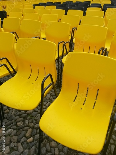 Fotografie, Obraz  yellow chairs at film festival