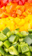 Close up view of chopped colorful capsicum