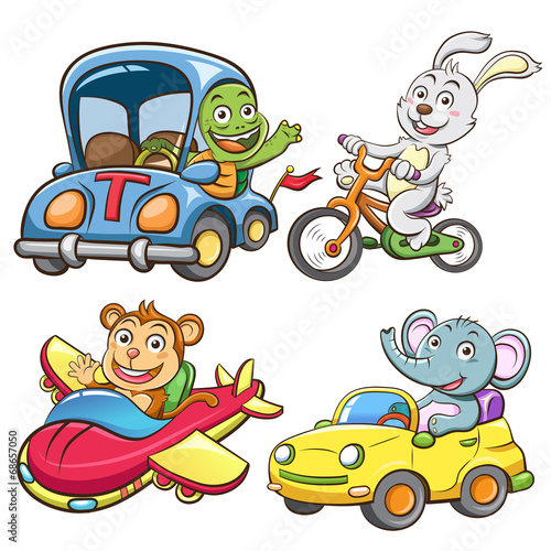 Foto op Canvas Cars funny vehicle and animal set.