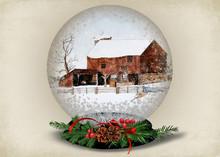 Christmas Snow Globe With Barn