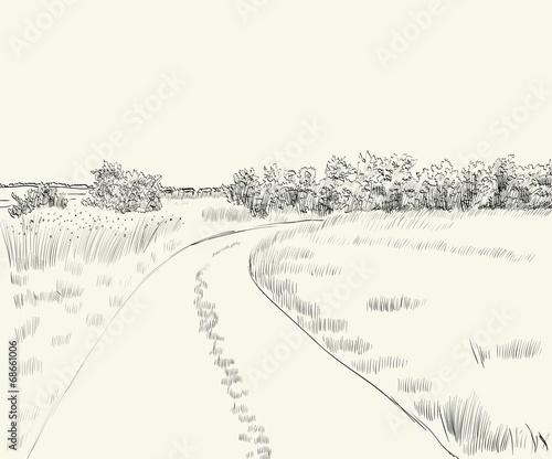 Poster Blanc Summer landscape
