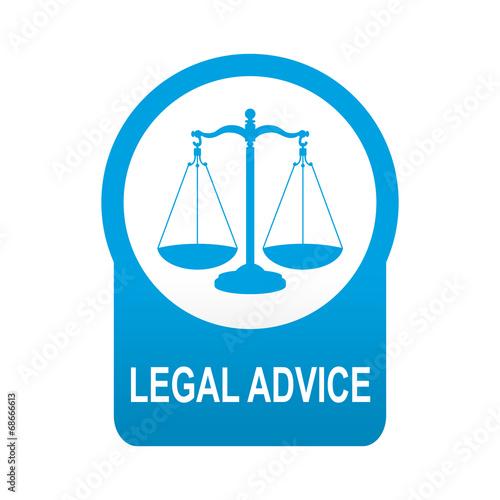 Photo Etiqueta tipo app azul redonda LEGAL ADVICE