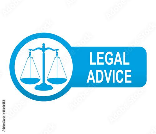 Etiqueta tipo app azul alargada LEGAL ADVICE Canvas Print