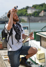 Young Bearded Tourist Man With...