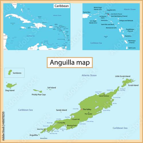 Anguilla Map Canvas Print