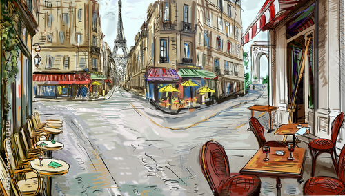 Photo sur Toile Drawn Street cafe Street in paris - illustration