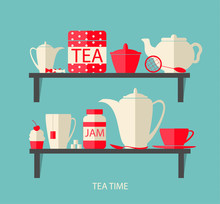 Teatime Flat Design Elements W...