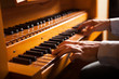 canvas print picture - Man playing a church organ