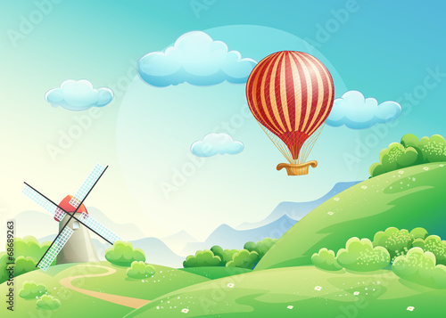 Photo Stands Magic world summer fields with a mill and a balloon in the sky