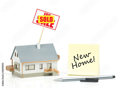 Fotografie, Obraz  House model with sold sign - New Home