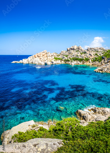 Beautiful rocky ocean bay with turqouise water Canvas Print