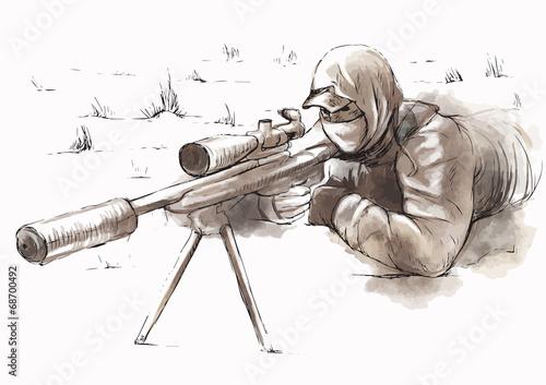 Fotografía  Sniper (Shooter) - Hand drawn vector