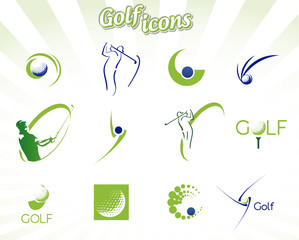 Fototapeta Golf Collection of golf icons isolated on white, vector illustration