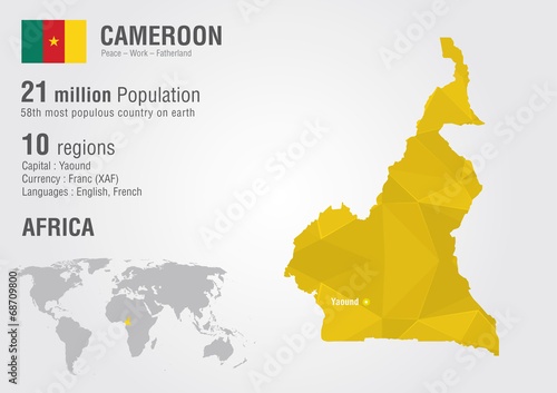 Cameroon world map with a pixel diamond texture. - Buy this stock ...