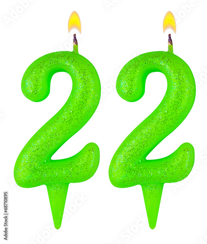 Fotografia  Birthday candles number twenty two isolated on white background