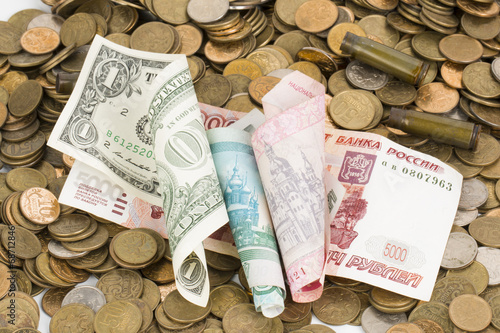 Photo Russian, USA and Ukrainian money.